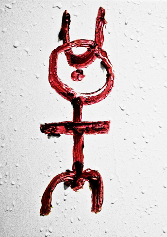 monas hieroglyphica contemporary lipstick on bathroom tiles