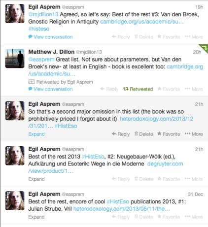 2013 HistEso books on twitter